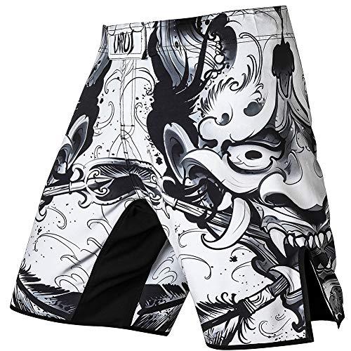 LAFROI Short de boxe MMA pour homme avec cordon de serrage et poche QJK01 S Hannya.