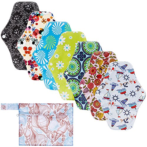 Rovtop 7 pcs 25.4cm Serviettes Hygiéniques Lavables Pads Menstruel Chiffon Serviette Menstruelle Réutilisables au Charbon de Bambou + 1 Mini Sac Portatif