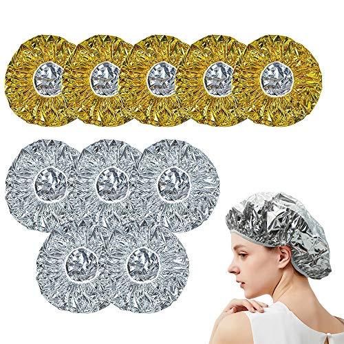 Bonnet Chauffant Pour Soins Capillaires, ZoneYan 10pcs Bonnet Chauffant Cheveux Masque, Capuchon de Cheveux Réutilisable, Bonnet D'isolation en Aluminium, pour un Conditionnement en Profondeur