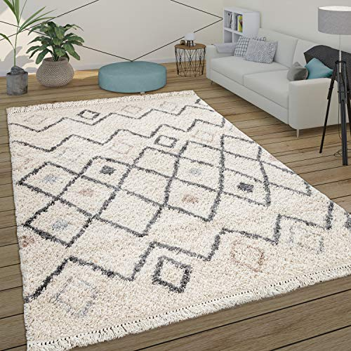 Paco Home Tapis Poils Longs Shaggy Salon Scandinave Motif Diamant...