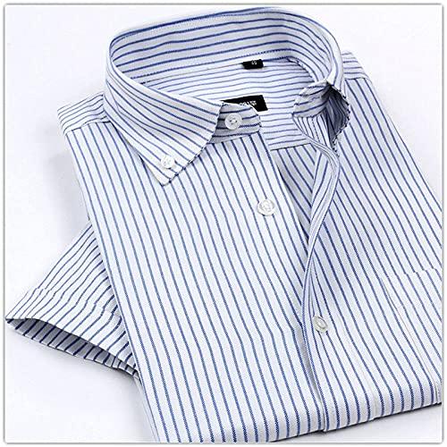 SHENSHI Chemise Homme Manche Courte,Chemises Boutonnées Classiques, Chemises sans Repassage Chemise Rayée À Carreaux Business Club Vêtements pour Hommes, Bleu Ciel, Grand prix et achat