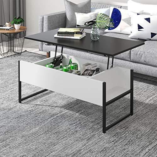 jeffordoutlet Table Basse relevable, Salon avec Rangement caché Meubles de Maison en Bois et métal Robustes pour recevoir, Manger et étudier (Noir)