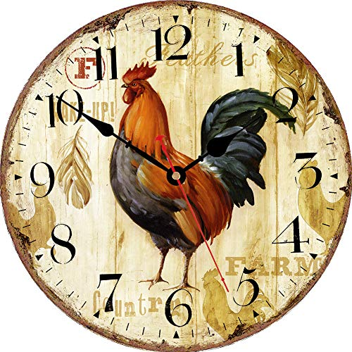 VIKMARI Horloge Murale silencieuse Non coutil - Courir Motif Cheval Cuisine Horloge Murale qualité Quartz Batterie Operated Horloge Murale Ronde 14 inch Coq Rustique