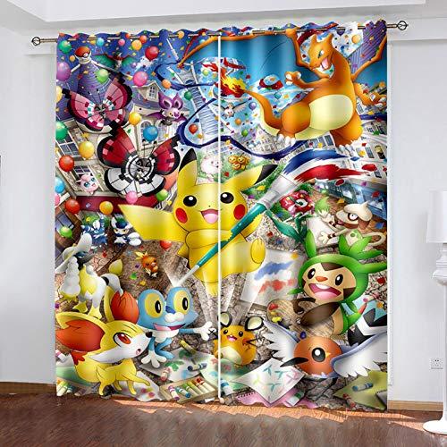 Ssghio Occultant Rideaux pour Chambre Enfants, Pokémon 3D NuméRique Impression Rideaux, Opaque Perforés Rideaux pour Enfants, 150x166cm