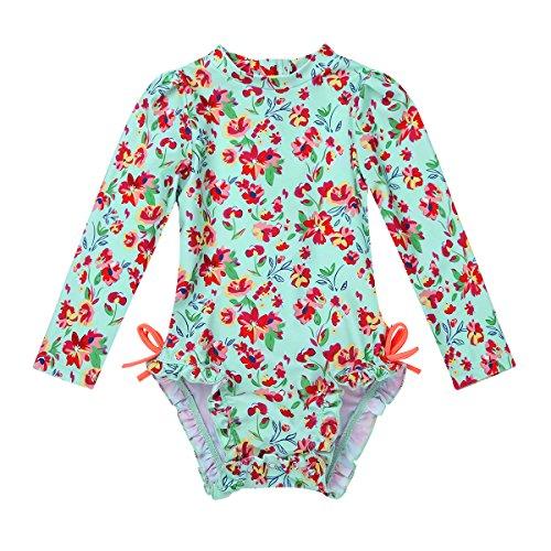 Freebily 1/2 Pièce Bébé Fille Maillot de Bain Tankini Floral Body Combinaison Manche Longue...
