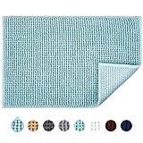 JARITTO : Tapis de bain antidérapant absorbant lavable en Machine 40 x 60 cm bleu clair
