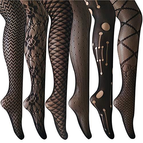ANDIBEIQI Collants Bas Résille 6 Paires Femmes Hollow Collant extensible filet élastique...