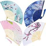 Lot de 4 Éventails Pliants avec Frange en Soie et Bambou Style Japonais avec Motif Ppaillons Sakura Fleur Main Fan pour Decoration Mariage Fête Cadeau (env. 38 x 21cm)