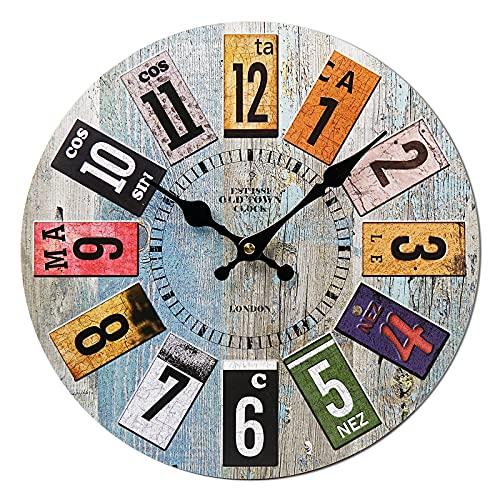 Horloge Murale Vintage, 14'' Horloge Murale Geante, Horloge Murale Bois, Horloge Murale Design Moderne, Grande Horloge Murale, Silencieuse Pendule Murale, Decoration Chambre, Deco Maison, Deco Murale