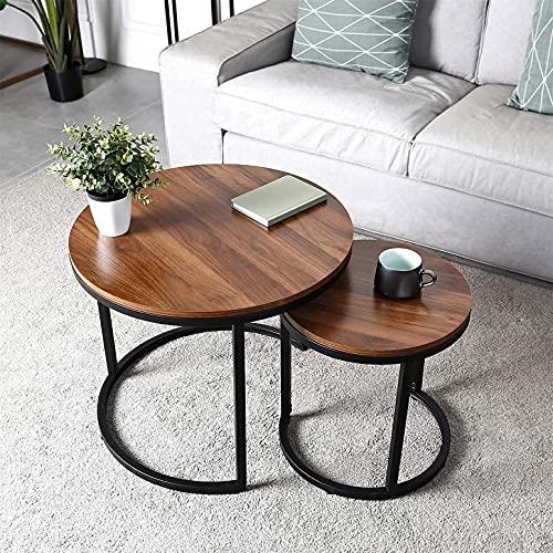 Tables Basses Ronde,Tables Basse Salon avec Accents en Bois et Cadre en métal Robuste, Assemblage Facile
