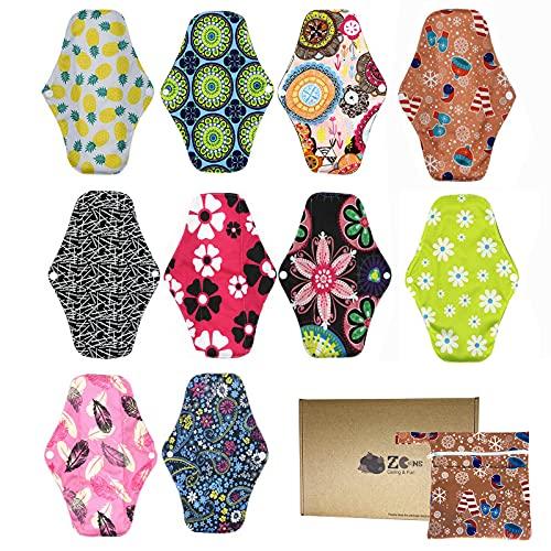 10 pièces Serviette hygiénique réutilisable en tissu de bambou Protège-slip pour femme...