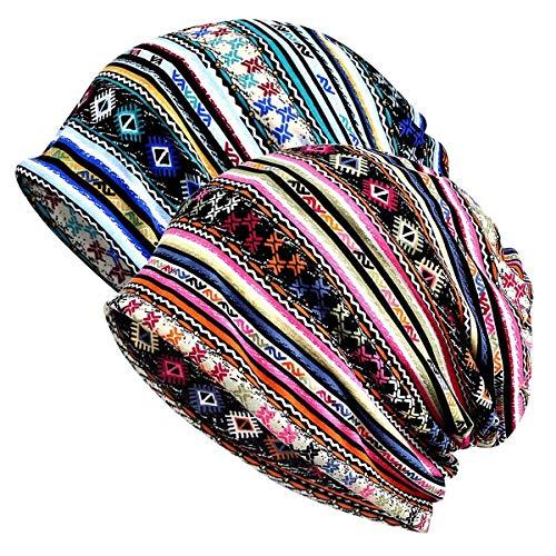 Gebell Chemo Chapeau Femme - Coton Chemo Coiffe Doux Slouchy Beanie Bonnet chimo Turban Foulard pour Femmes, Vert/rose., taille unique prix et achat