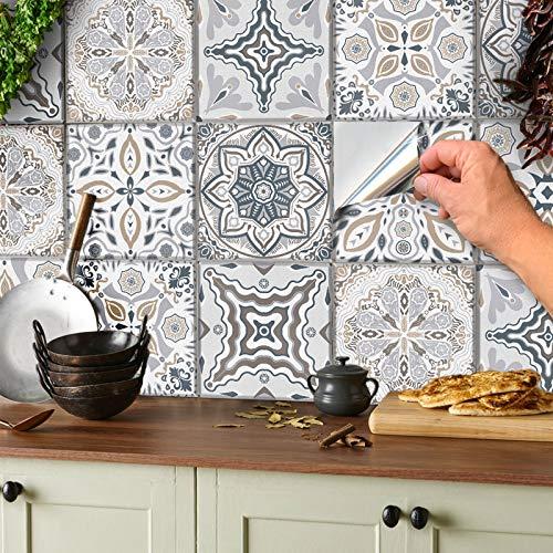 24 Stickers muraux gris et blancs autocollants de carreaux adhésifs carrés plats de 15x15 cm avec motifs de carrelage pour salle de bain ou cuisine autocollant