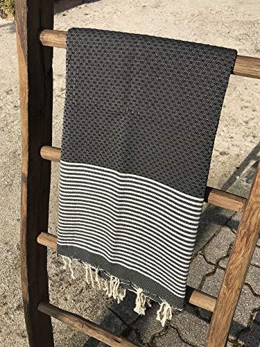 Fouta Tunisienne - Serviette de Plage - 100x200cm Nid d'abeille Lurex Argent Noir - 100% Coton