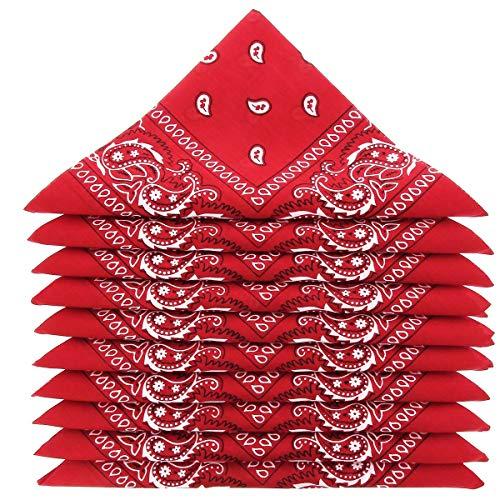 KARL LOVEN Lot de 5 bandanas 100% Coton paisley foulard fichu 25 couleurs au choix (Lot de 5 identiques, Rouge) prix et achat