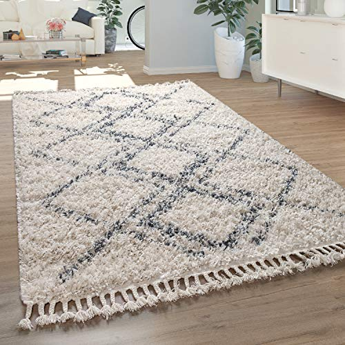 Paco Home Tapis Salon Shaggy Poils Longs Moderne Carreaux...
