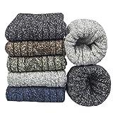 YSense 5 paires Chaussettes Femme Hiver en Mérinos Laine Coton Chaussettes Thermiques Chaudes Épaisses Douces Hautes, Cadeau de Femme