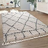 Paco Home Salon Tapis Shaggy Poils Longs Moderne Motif  Losanges Carreaux Crme Bleu, Dimension:160x230 cm