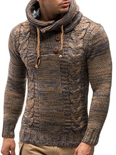 LEIF NELSON Gilet tricot col large, Ch - Brun - Taille Large