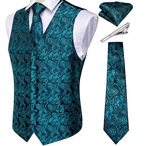 DiBanGu Ensemble gilet et cravate cachemire pour homme avec boutons de manchette et boutons de manchette carrés - Turquoise - Medium prix et achat