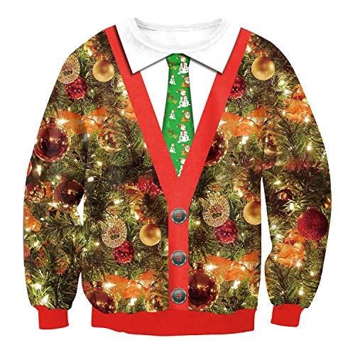LittleCat Cravatte de Noël numérique Impression col Rond à Manches Longues Chandail Laid de...
