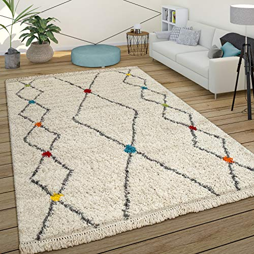 Paco Home Tapis À Poils Longs Shaggy Design Berbère Coloré...
