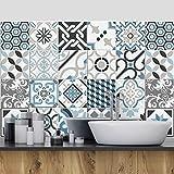 24 Pieces 10x10 cm - PS00054 Adhésive décorative à Carreaux pour Salle de Bains et Cuisine Stickers carrelage - Made in Italy - Stickers Design