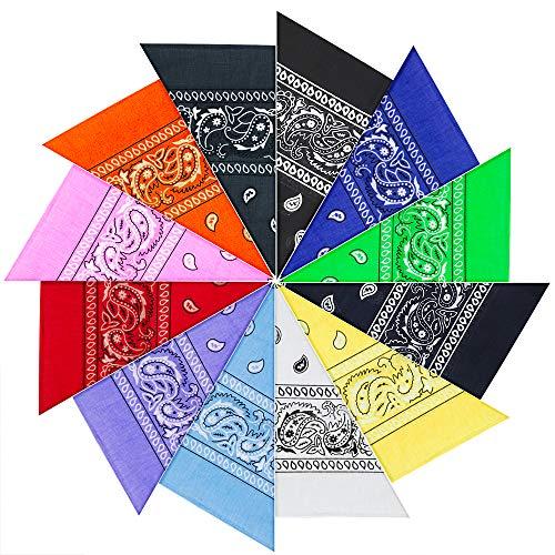 PITAYA 12PCS Bandanas Cheveux Homme et Femme,12 Couleurs Foulard Bandeau Multicolor Multifonction Cou Tête Echarpe Mouchoirs