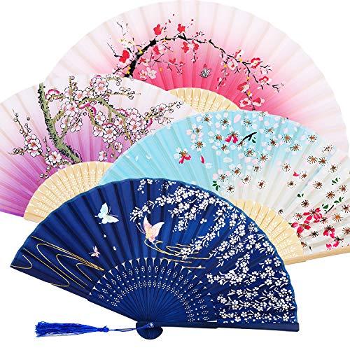 Lot de 4 Ventilateurs Pliables en Bambou avec Pompon pour Femme en Bambou Creux pour décoration Murale, 4 Pièces, Violet, Bleu Foncé, Rose et Bleu Ciel
