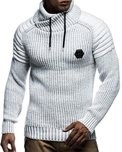 LEIF Nelson Mens Pull Tricoté Col châle Coupe Slim Fit pour Hiver Été | Tee Shirt pour Homme à Manches Longues avec col