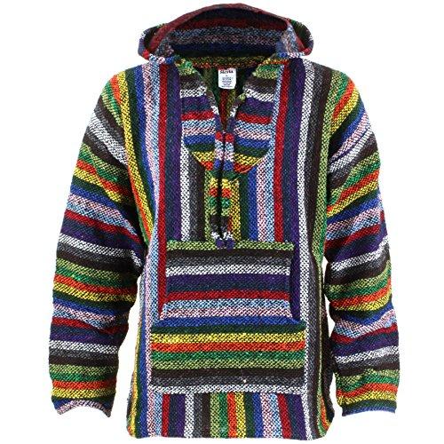 Siesta mexicain BAJA Jerga à capuche hippie tricot - Vibrant rayure - Vibrant rayure, vibrant rayure, Large prix et achat