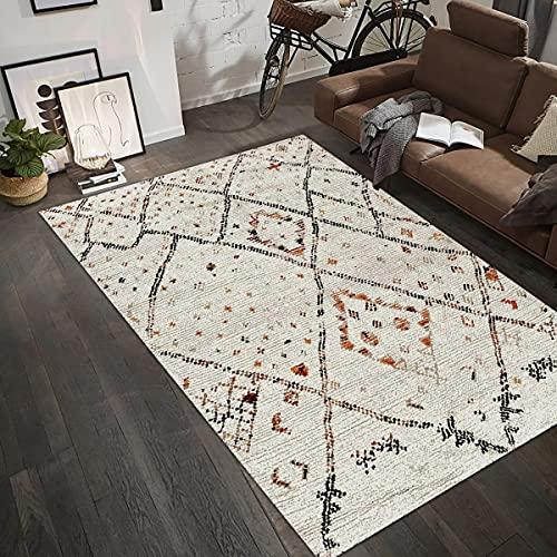 UN AMOUR DE TAPIS 120x170 Tapis Salon Moderne Design Scandinave - Tapis Berbere Ethnique Turquoise - Grand Tapis Salon Poils Ras - Tapis Creme