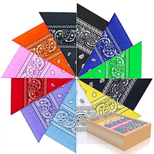 PITAYA 12PCS Bandanas Cheveux Homme et Femme,12 Couleurs Foulard Bandeau Multicolor...
