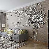 DIY 3D Énorme Arbre de couple Stickers Muraux Cristal Acrylique Décorations murales Autocollants Décoratifs Accueil Décorations Arts (L, Argent, Gauche)