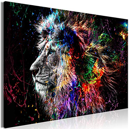 decomonkey | Impression sur Toile intissée Lion Abstrait 120x80 cm | 1 Piece | Tableau Mural Image sur Toile Photo Images Motif Moderne Décoration tendu sur Chassis Animaux